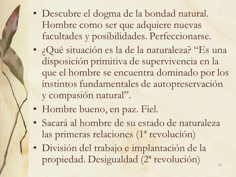 12 Descubre el dogma de la bondad natural. Hombre como ser que adquiere nuevas facultades y posibilidades. Perfeccionarse. ¿Qué situación es la de la