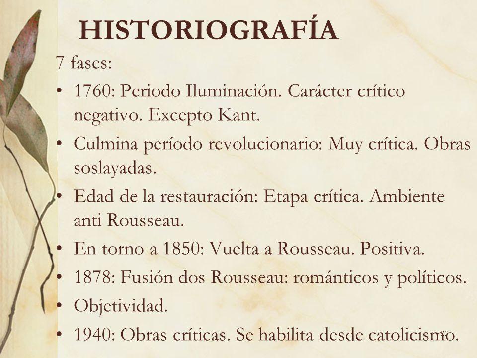 23 HISTORIOGRAFÍA 7 fases: 1760: Periodo Iluminación. Carácter crítico negativo. Excepto Kant. Culmina período revolucionario: Muy crítica. Obras sosl