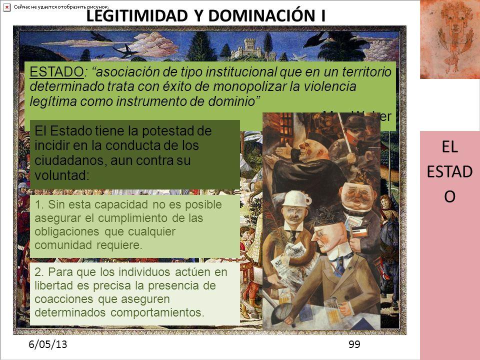 Haga clic para modificar el estilo de subtítulo del patrón 6/05/13 EL ESTAD O LEGITIMIDAD Y DOMINACIÓN II 1010 Este poder tiene que ser aceptado por toda la sociedad y previamente reconocido La aceptación de este derecho por parte de los demás se denomina LEGITIMACIÓN De acuerdo con Max Weber, podemos diferenciar tres tipos de dominación: CARISMÁTICA TRADICIONAL RACIONAL-LEGAL