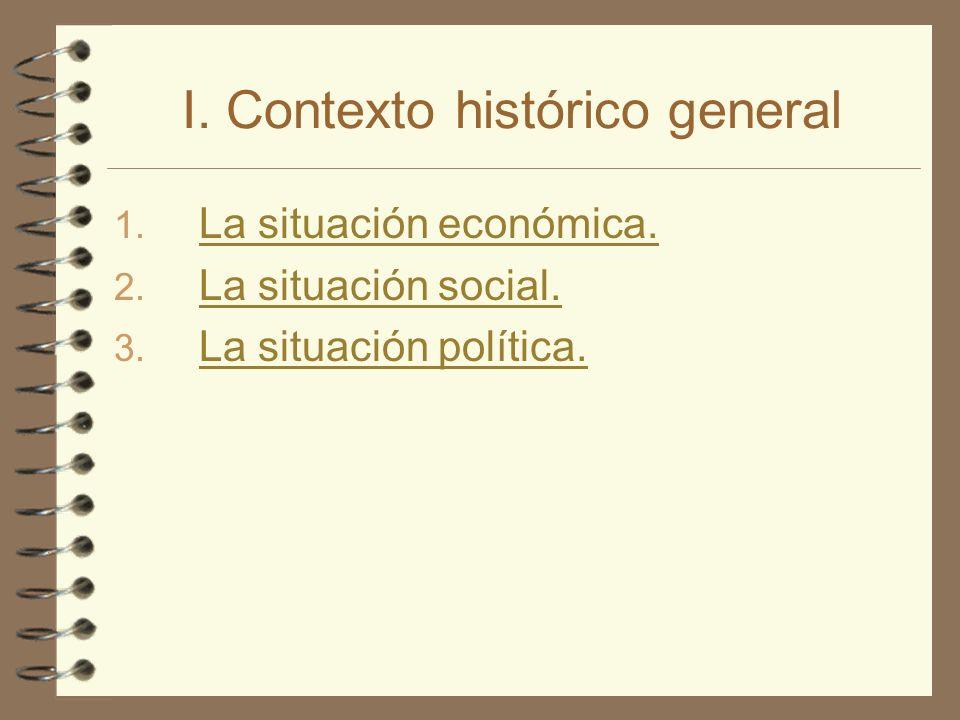 I. Contexto histórico general 1. La situación económica. La situación económica. 2. La situación social. La situación social. 3. La situación política