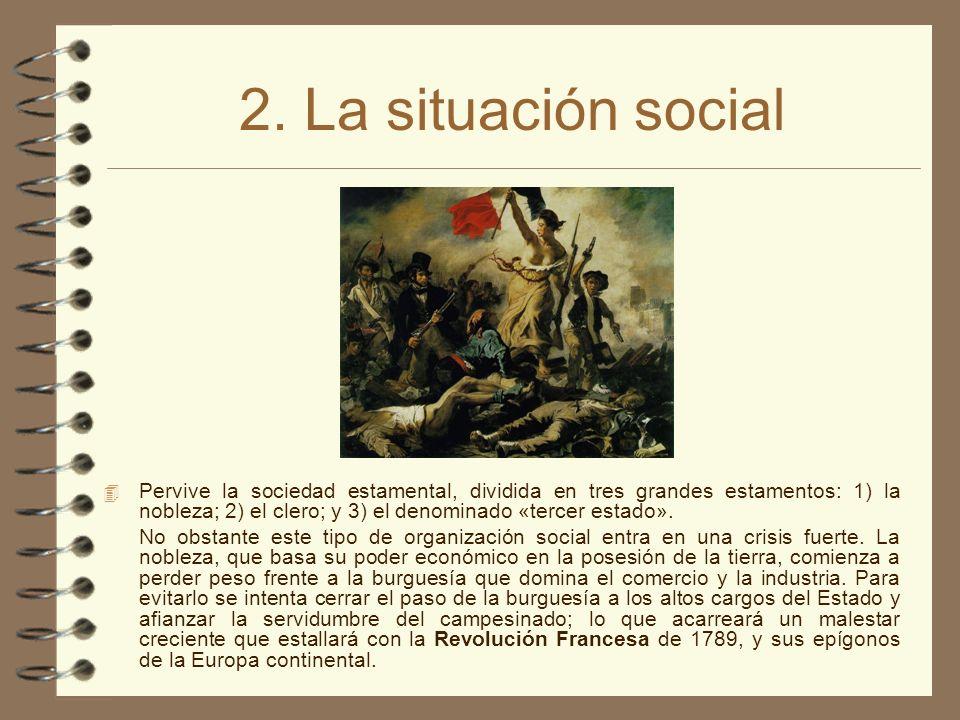 2. La situación social 4 Pervive la sociedad estamental, dividida en tres grandes estamentos: 1) la nobleza; 2) el clero; y 3) el denominado «tercer e