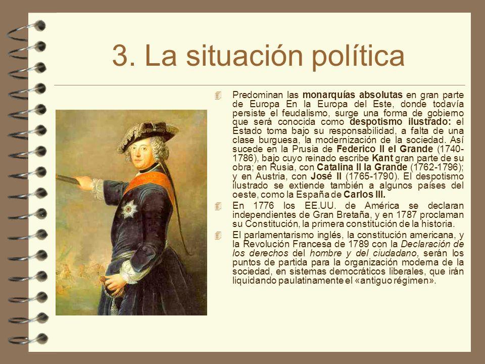 3. La situación política 4 Predominan las monarquías absolutas en gran parte de Europa En la Europa del Este, donde todavía persiste el feudalismo, su