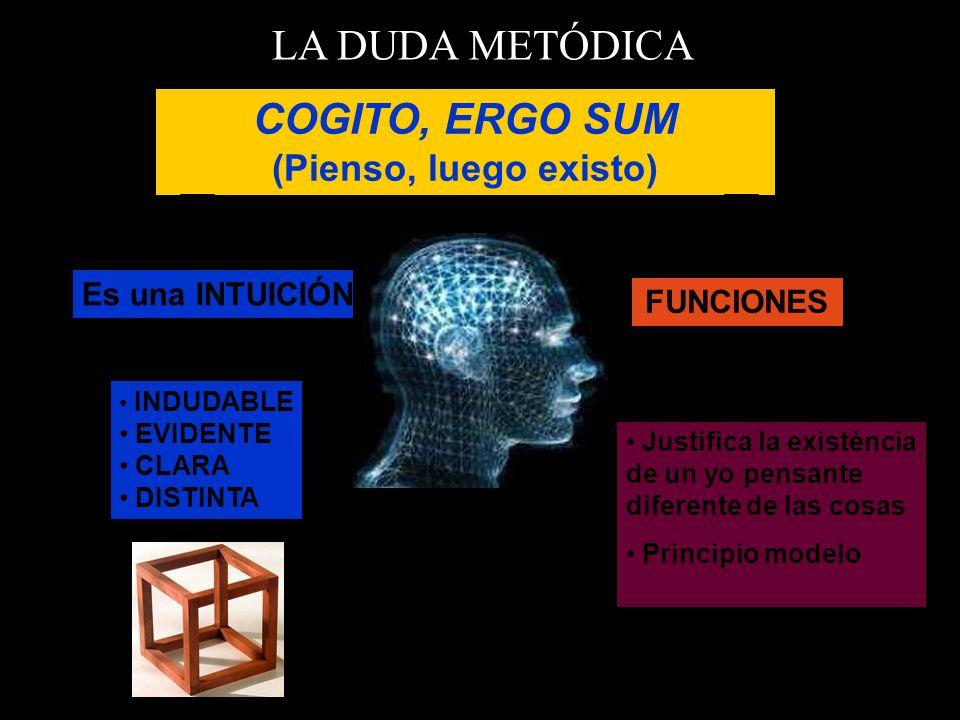 LA DUDA METÓDICA COGITO, ERGO SUM (Pienso, luego existo) INDUDABLE EVIDENTE CLARA DISTINTA Es una INTUICIÓN FUNCIONES Justifica la existència de un yo