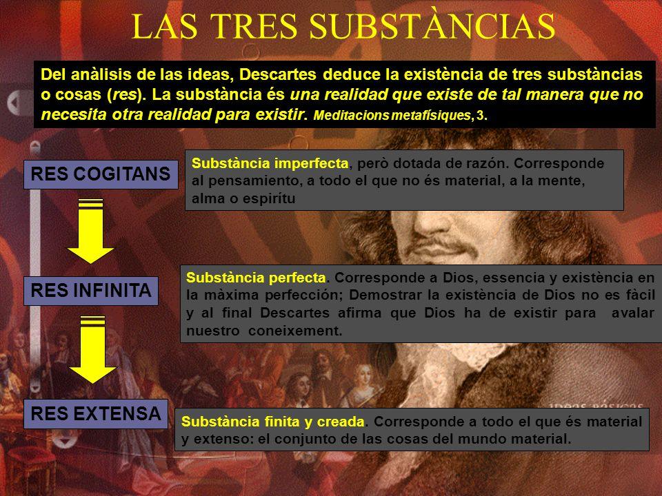 LAS TRES SUBSTÀNCIAS Del anàlisis de las ideas, Descartes deduce la existència de tres substàncias o cosas (res). La substància és una realidad que ex