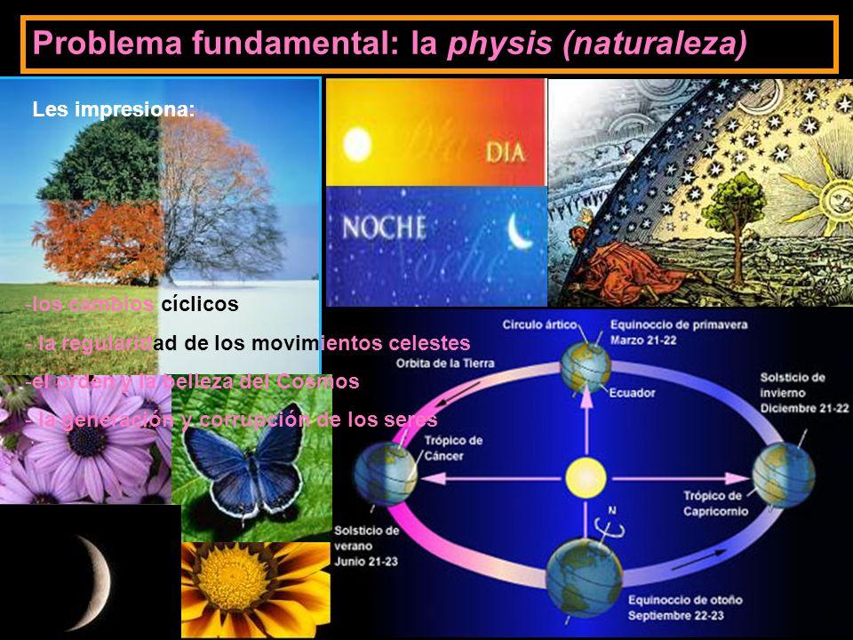 Problema fundamental: la physis (naturaleza) Les impresiona: -los cambios cíclicos - la regularidad de los movimientos celestes -el orden y la belleza