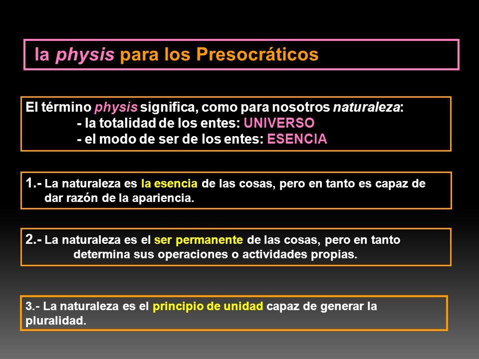 El término physis significa, como para nosotros naturaleza: - la totalidad de los entes: UNIVERSO - el modo de ser de los entes: ESENCIA 1.- La natura