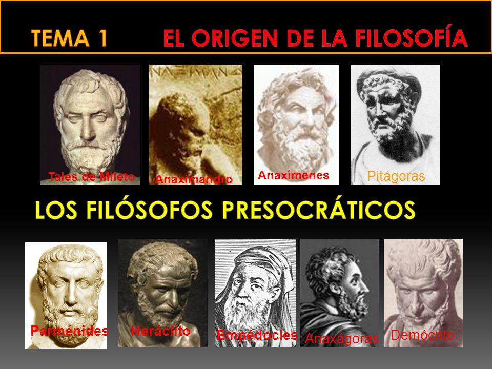 Tales de Mileto Anaximandro Anaxímenes Pitágoras ParménidesHeráclito Empédocles Anaxágoras Demócrito