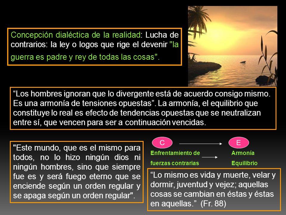Concepción dialéctica de la realidad: Lucha de contrarios: la ley o logos que rige el devenir
