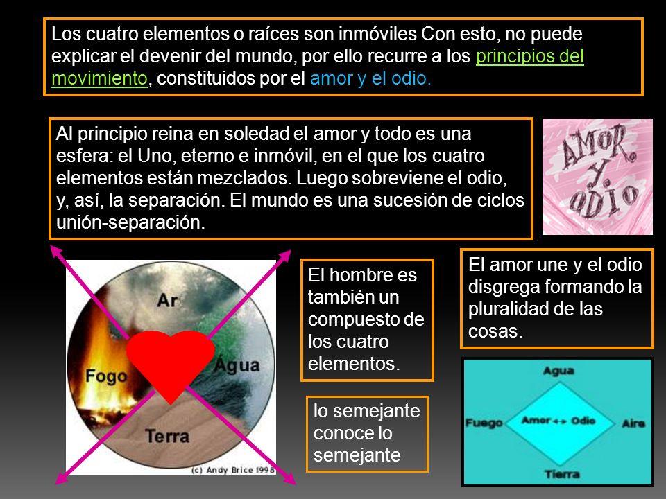 Los cuatro elementos o raíces son inmóviles Con esto, no puede explicar el devenir del mundo, por ello recurre a los principios del movimiento, consti