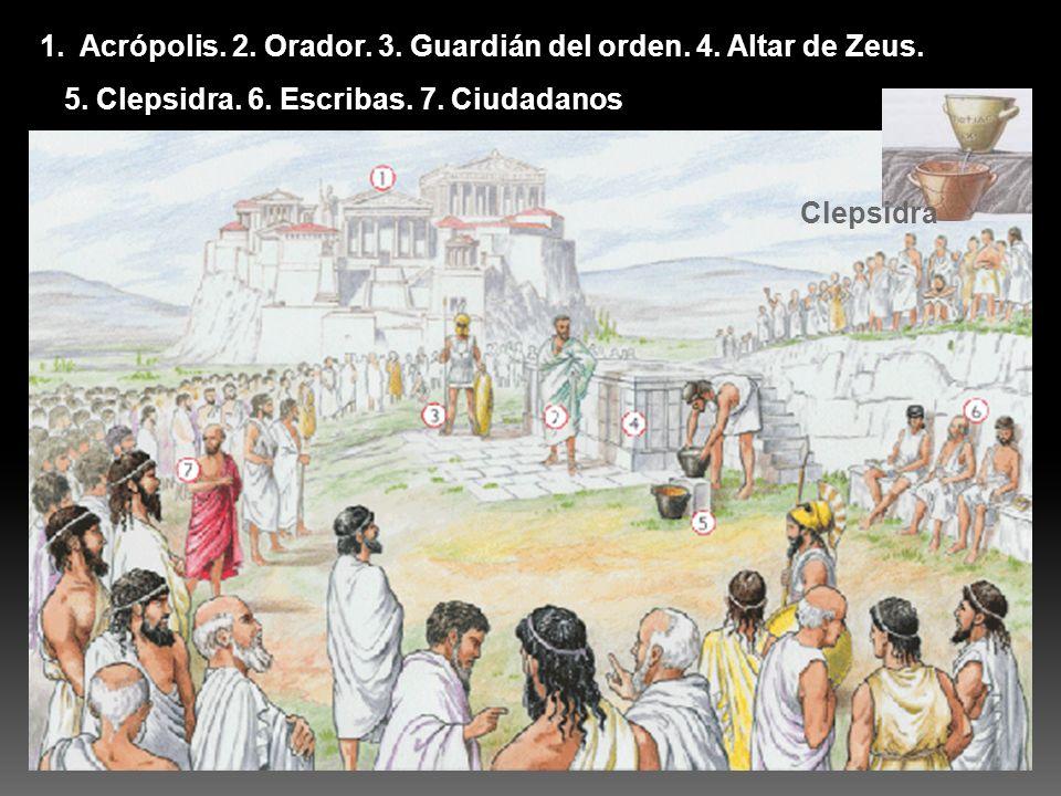 1.Acrópolis. 2. Orador. 3. Guardián del orden. 4. Altar de Zeus. 5. Clepsidra. 6. Escribas. 7. Ciudadanos Clepsidra