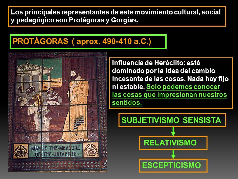 Los principales representantes de este movimiento cultural, social y pedagógico son Protágoras y Gorgias. PROTÁGORAS ( aprox. 490-410 a.C.) Influencia