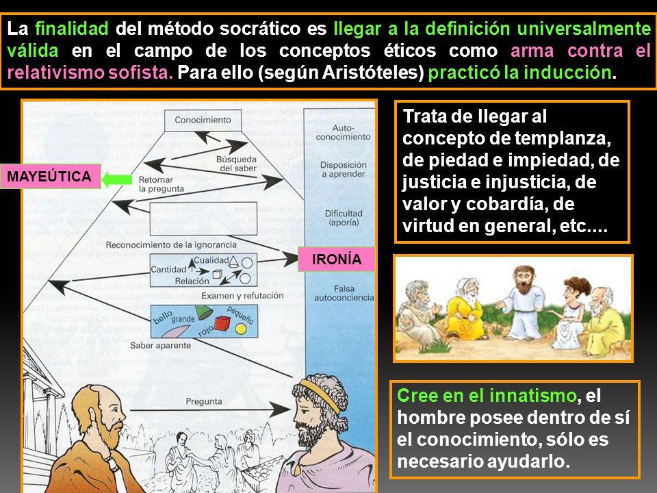 La finalidad del método socrático es llegar a la definición universalmente válida en el campo de los conceptos éticos como arma contra el relativismo