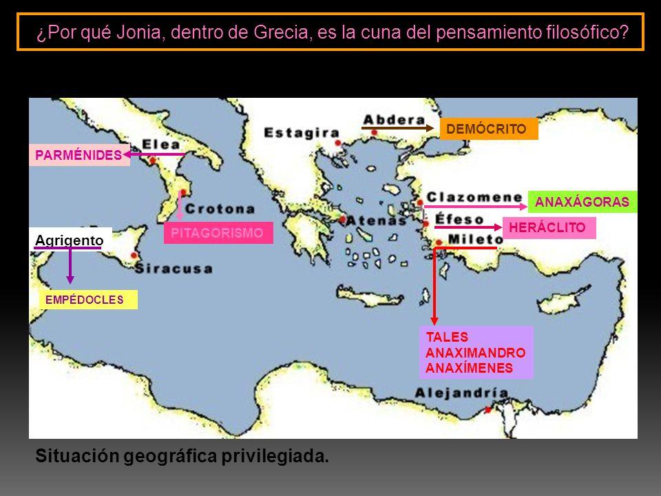 TALES ANAXIMANDRO ANAXÍMENES HERÁCLITO PARMÉNIDES DEMÓCRITO PITAGORISMO ANAXÁGORAS Agrigento EMPÉDOCLES ¿Por qué Jonia, dentro de Grecia, es la cuna d