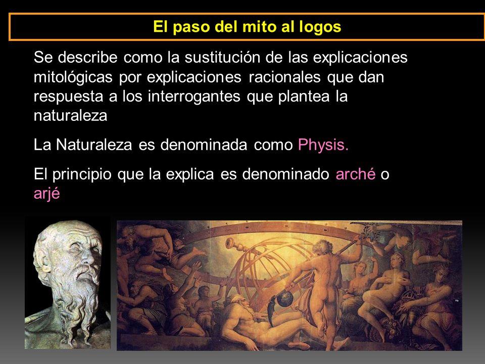 El paso del mito al logos Se describe como la sustitución de las explicaciones mitológicas por explicaciones racionales que dan respuesta a los interr
