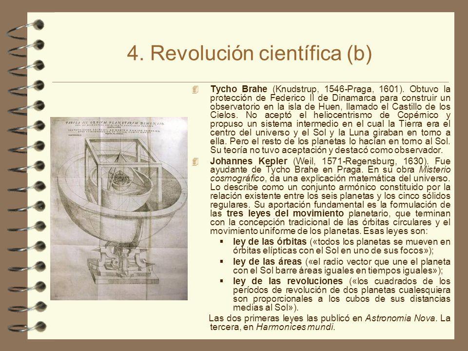 4. Revolución científica (b) 4 Tycho Brahe (Knudstrup, 1546-Praga, 1601). Obtuvo la protección de Federico II de Dinamarca para construir un observato