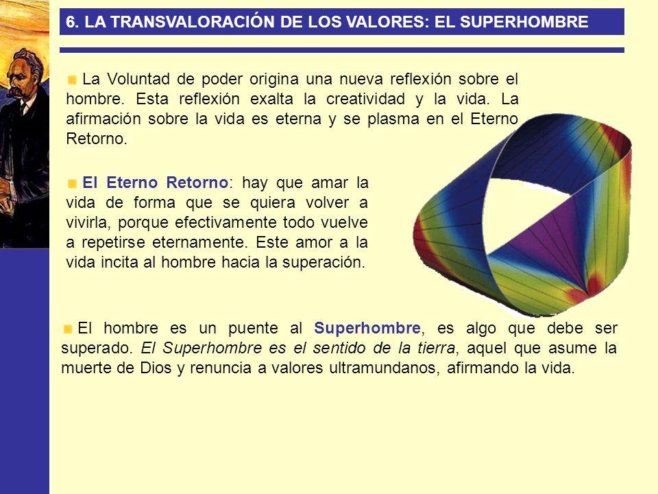 6. LA TRANSVALORACIÓN DE LOS VALORES: EL SUPERHOMBRE La Voluntad de poder origina una nueva reflexión sobre el hombre. Esta reflexión exalta la creati