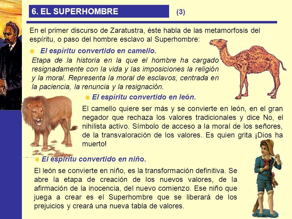 6. EL SUPERHOMBRE En el primer discurso de Zaratustra, éste habla de las metamorfosis del espíritu, o paso del hombre esclavo al Superhombre: El espír