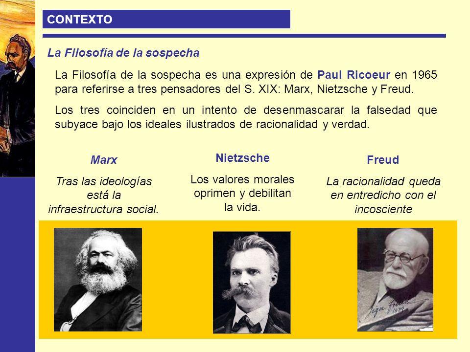 CONTEXTO La Filosofía de la sospecha La Filosofía de la sospecha es una expresión de Paul Ricoeur en 1965 para referirse a tres pensadores del S. XIX: