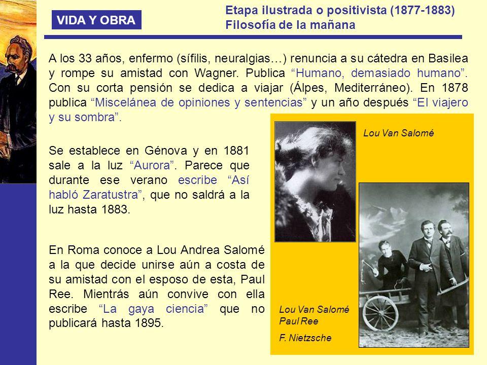 VIDA Y OBRA Etapa ilustrada o positivista (1877-1883) Filosofía de la mañana A los 33 años, enfermo (sífilis, neuralgias…) renuncia a su cátedra en Ba