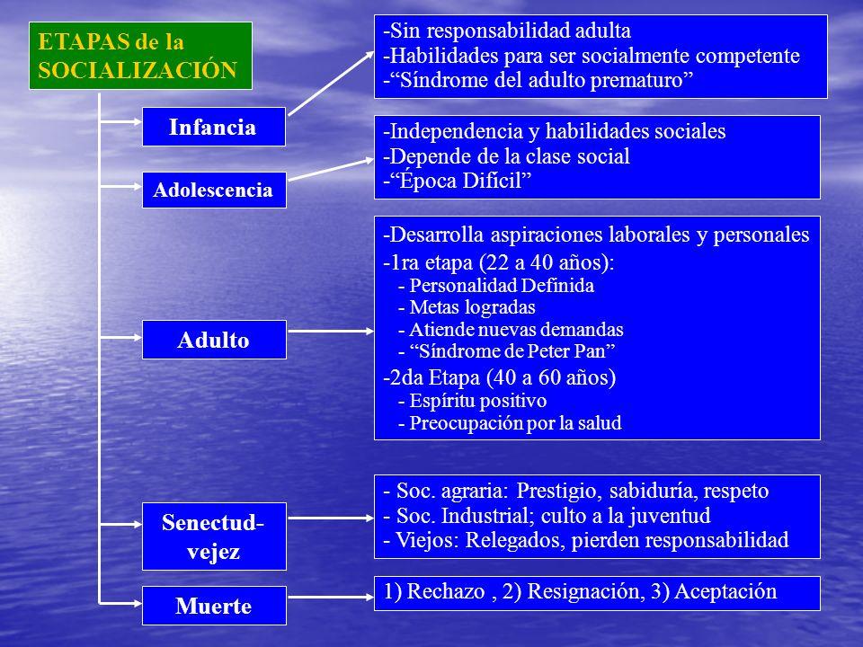 ETAPAS de la SOCIALIZACIÓN -Sin responsabilidad adulta -Habilidades para ser socialmente competente -Síndrome del adulto prematuro -Independencia y ha