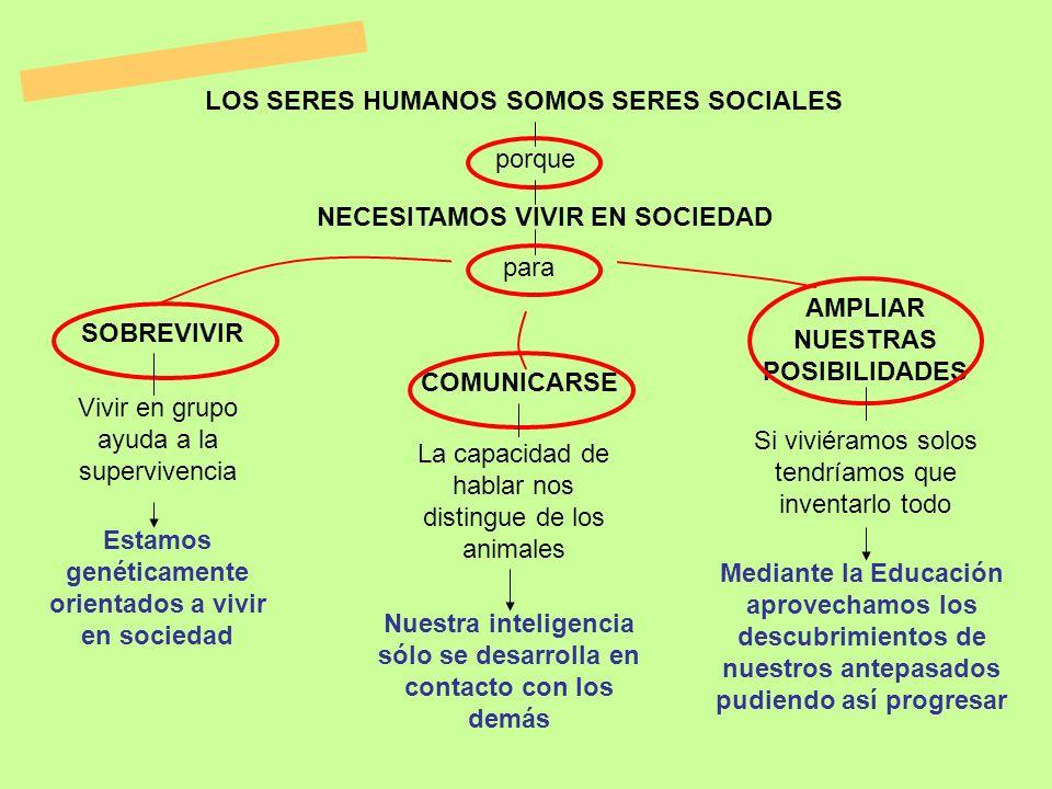 LOS SERES HUMANOS SOMOS SERES SOCIALES NECESITAMOS VIVIR EN SOCIEDAD para porque SOBREVIVIR COMUNICARSE AMPLIAR NUESTRAS POSIBILIDADES Vivir en grupo
