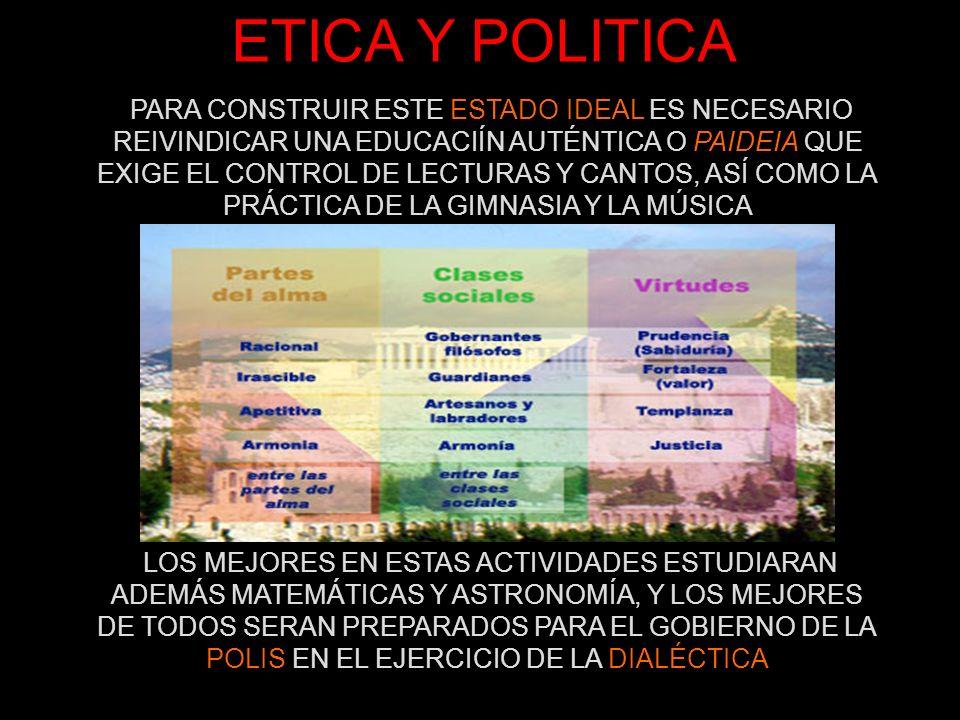ETICA Y POLITICA PARA CONSTRUIR ESTE ESTADO IDEAL ES NECESARIO REIVINDICAR UNA EDUCACIÍN AUTÉNTICA O PAIDEIA QUE EXIGE EL CONTROL DE LECTURAS Y CANTOS