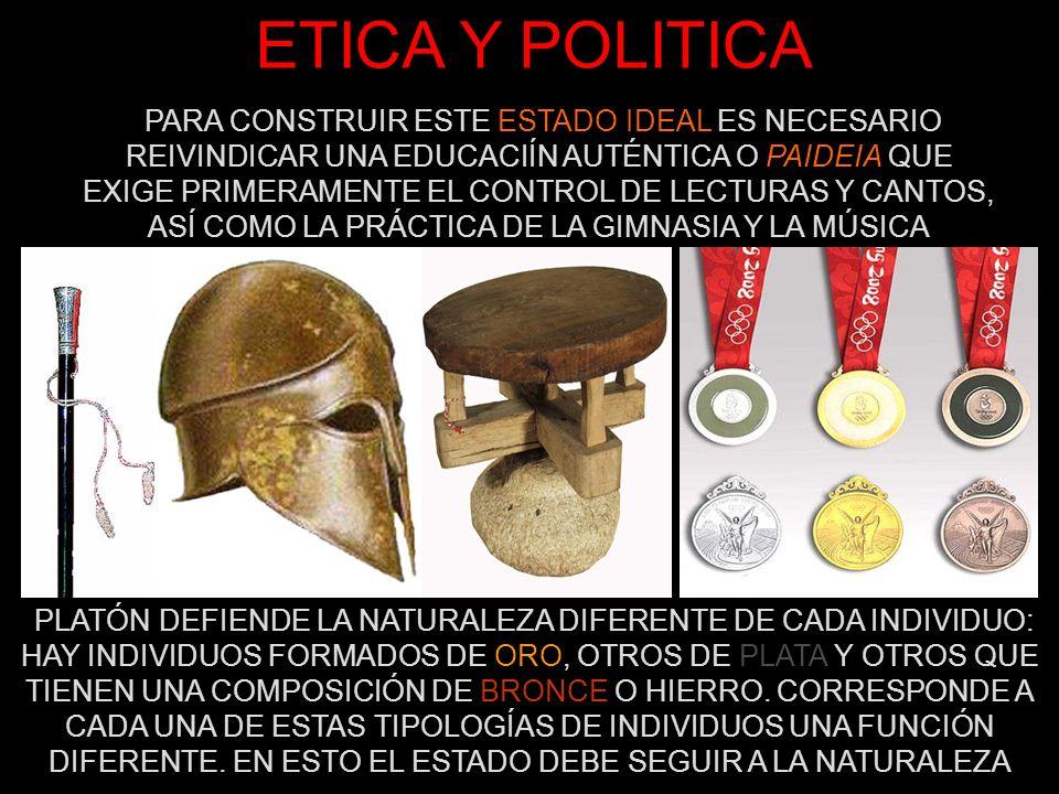 ETICA Y POLITICA PLATÓN DEFIENDE LA NATURALEZA DIFERENTE DE CADA INDIVIDUO: HAY INDIVIDUOS FORMADOS DE ORO, OTROS DE PLATA Y OTROS QUE TIENEN UNA COMP