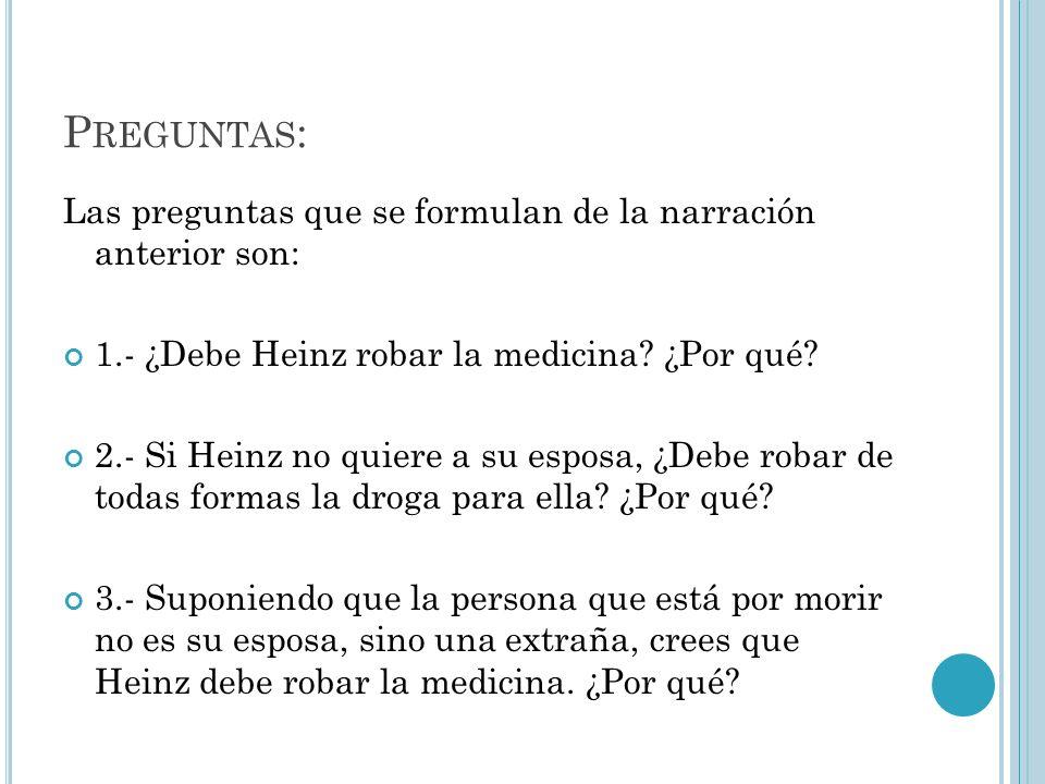 P REGUNTAS : Las preguntas que se formulan de la narración anterior son: 1.- ¿Debe Heinz robar la medicina? ¿Por qué? 2.- Si Heinz no quiere a su espo