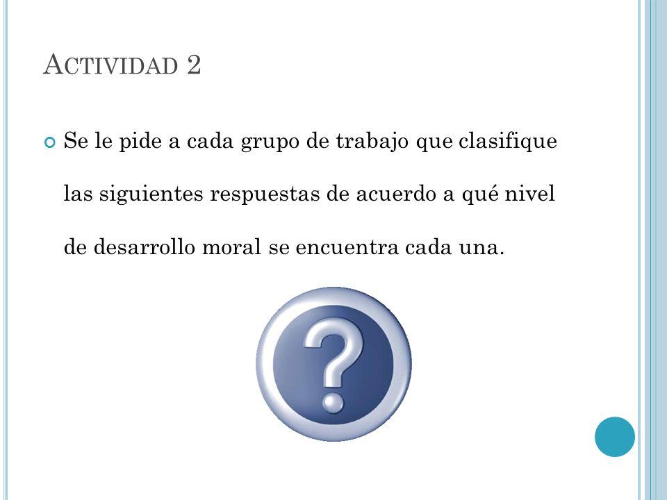Se le pide a cada grupo de trabajo que clasifique las siguientes respuestas de acuerdo a qué nivel de desarrollo moral se encuentra cada una. A CTIVID