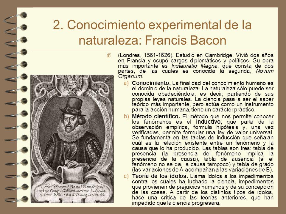 2. Conocimiento experimental de la naturaleza: Francis Bacon 4 (Londres, 1561-1626). Estudió en Cambridge. Vivió dos años en Francia y ocupó cargos di