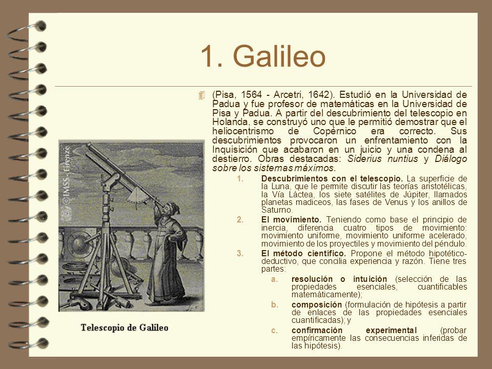 1. Galileo 4 (Pisa, 1564 - Arcetri, 1642). Estudió en la Universidad de Padua y fue profesor de matemáticas en la Universidad de Pisa y Padua. A parti