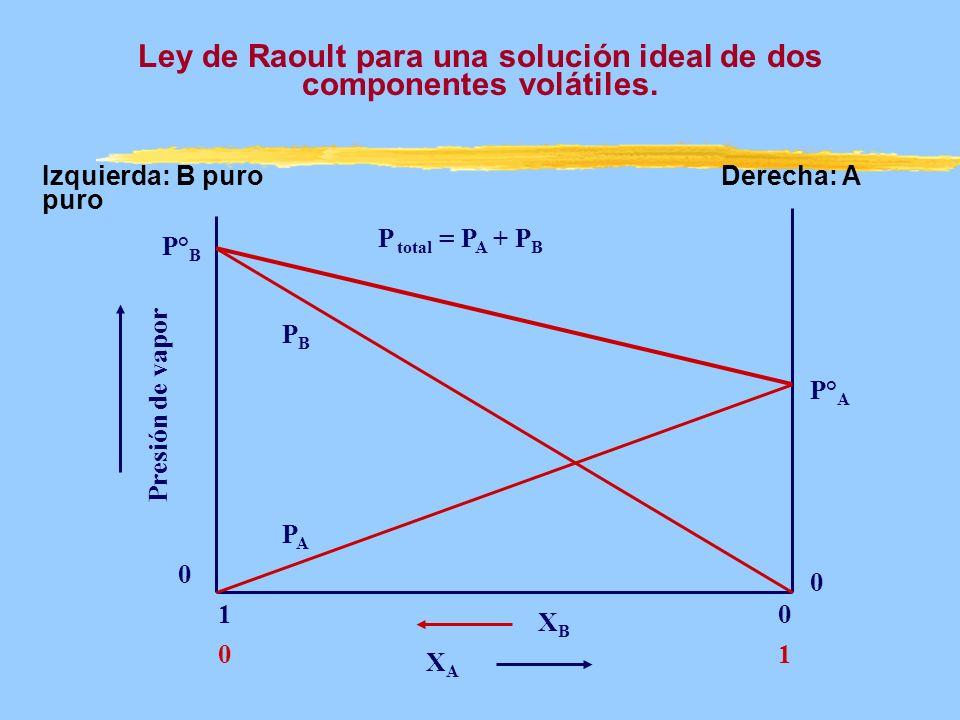 Presión de vapor XAXA 0 1 10 0 P° A XBXB P° B PBPB PAPA P total = P A + P B Ley de Raoult para una solución ideal de dos componentes volátiles. Izquie