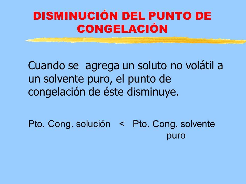 DISMINUCIÓN DEL PUNTO DE CONGELACIÓN Cuando se agrega un soluto no volátil a un solvente puro, el punto de congelación de éste disminuye. Pto. Cong. s