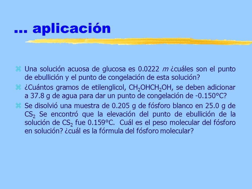 ... aplicación zUna solución acuosa de glucosa es 0.0222 m ¿cuáles son el punto de ebullición y el punto de congelación de esta solución? z¿Cuántos gr