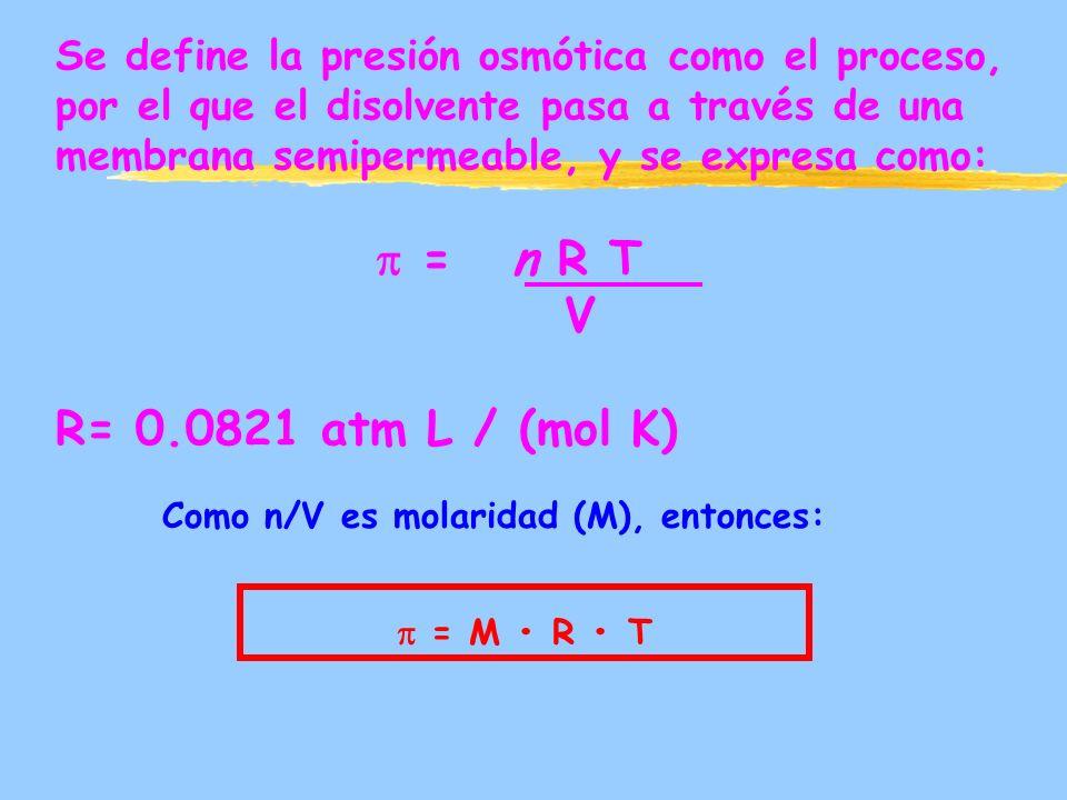 Se define la presión osmótica como el proceso, por el que el disolvente pasa a través de una membrana semipermeable, y se expresa como: = n R T V R= 0