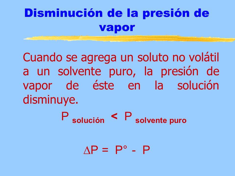 T f = K f m Donde: T f = Disminución del punto de congelación K f = Constante molal de descenso del punto de congelación m = molalidad de la solución T f = T f solvente - T f solución