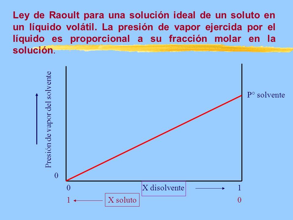 Presión de vapor del solvente X disolvente X soluto 0 0 01 1 P° solvente Ley de Raoult para una solución ideal de un soluto en un líquido volátil. La