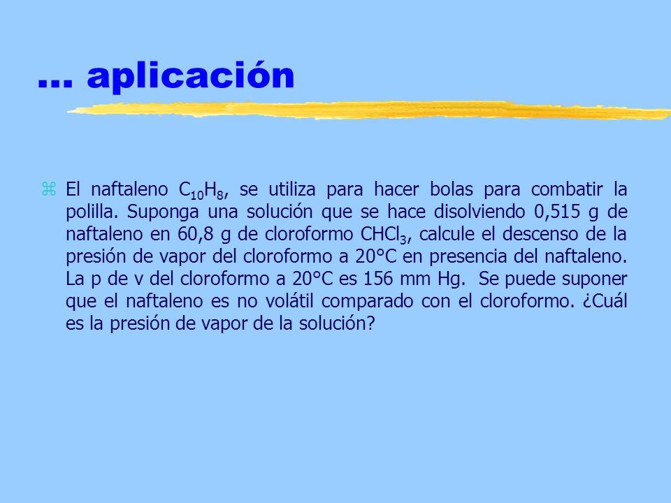 ... aplicación zEl naftaleno C 10 H 8, se utiliza para hacer bolas para combatir la polilla. Suponga una solución que se hace disolviendo 0,515 g de n