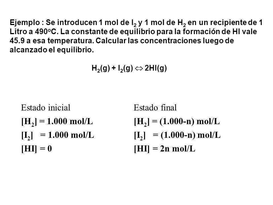 Ejemplo : Se introducen 1 mol de I 2 y 1 mol de H 2 en un recipiente de 1 Litro a 490 o C. La constante de equilibrio para la formación de HI vale 45.