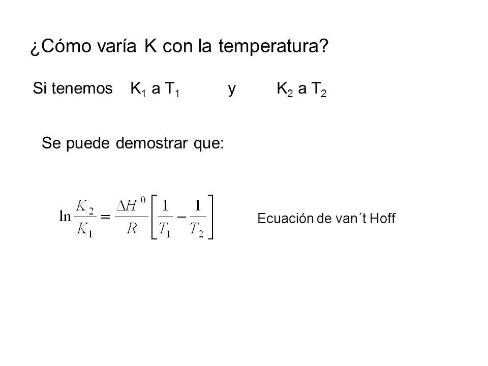 ¿Cómo varía K con la temperatura? Si tenemos K 1 a T 1 y K 2 a T 2 Ecuación de van´t Hoff Se puede demostrar que: