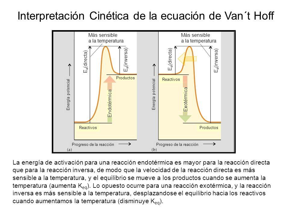 Progreso de la reacción Energía potencial Reactivos Productos ReactivosProductos Endotérmica Exotérmica Más sensible a la temperatura Más sensible a l