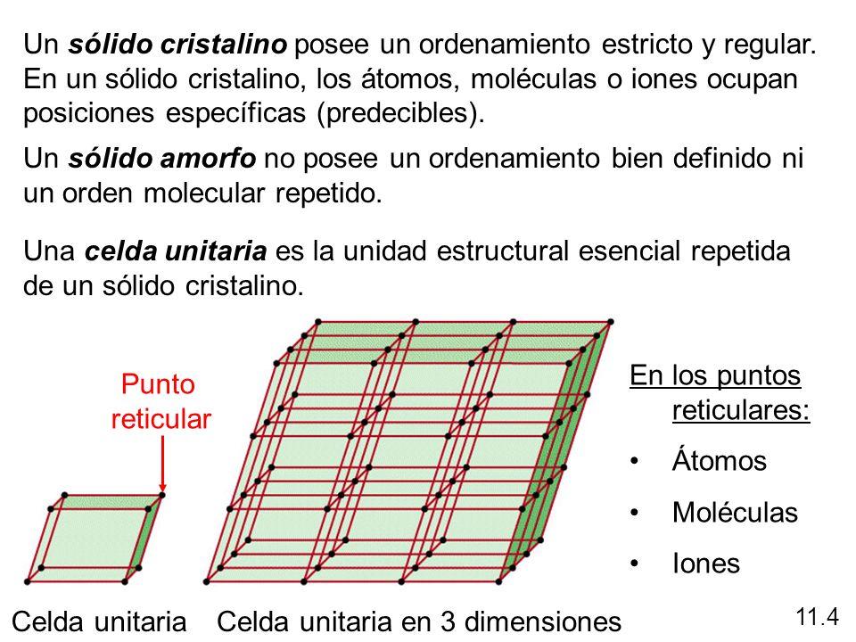 Un sólido cristalino posee un ordenamiento estricto y regular. En un sólido cristalino, los átomos, moléculas o iones ocupan posiciones específicas (p