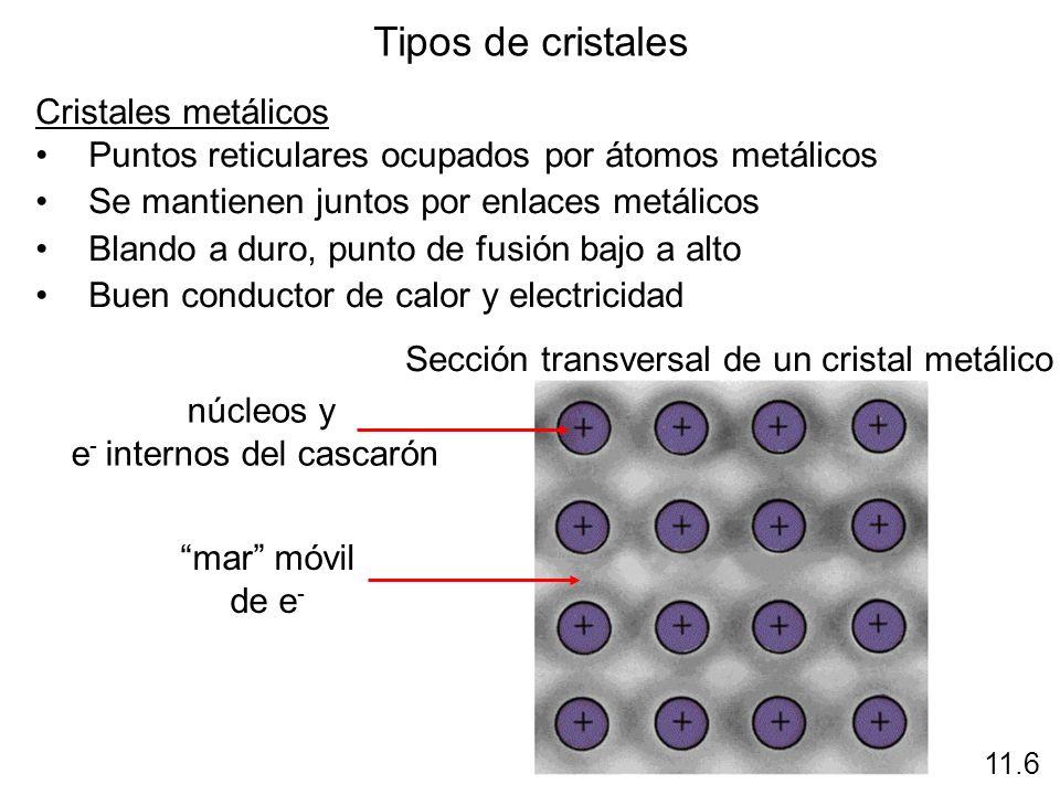 Tipos de cristales Cristales metálicos Puntos reticulares ocupados por átomos metálicos Se mantienen juntos por enlaces metálicos Blando a duro, punto