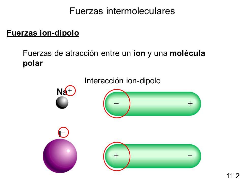 Fuerzas intermoleculares Fuerzas ion-dipolo Fuerzas de atracción entre un ion y una molécula polar 11.2 Interacción ion-dipolo