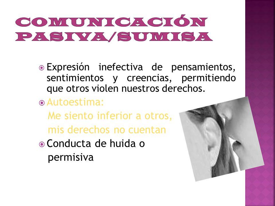 COMUNICACION PASIVA o SUMISA COMUNICACIÓN AGRESIVA COMUNICACIÓN ASERTIVA