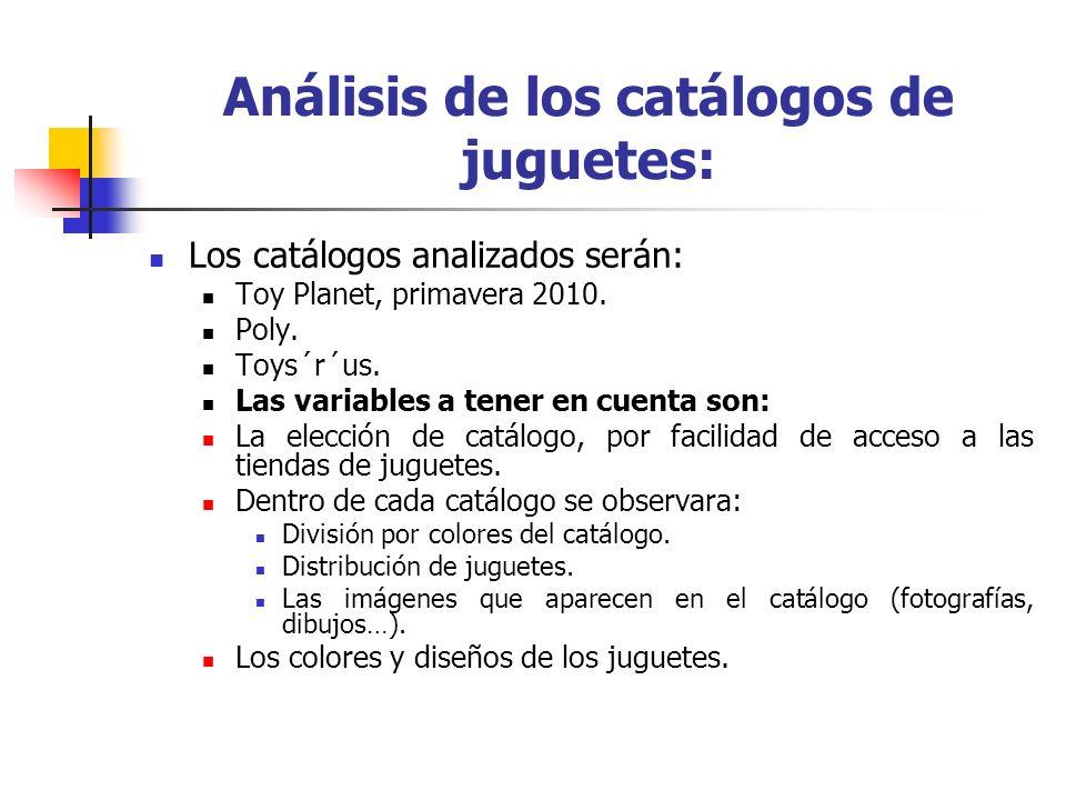 Análisis de los catálogos de juguetes: Los catálogos analizados serán: Toy Planet, primavera 2010. Poly. Toys´r´us. Las variables a tener en cuenta so