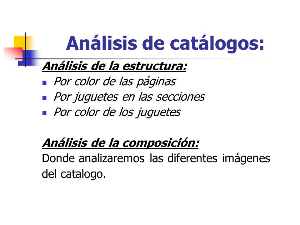 Análisis de catálogos: Análisis de la estructura: Por color de las páginas Por juguetes en las secciones Por color de los juguetes Análisis de la comp