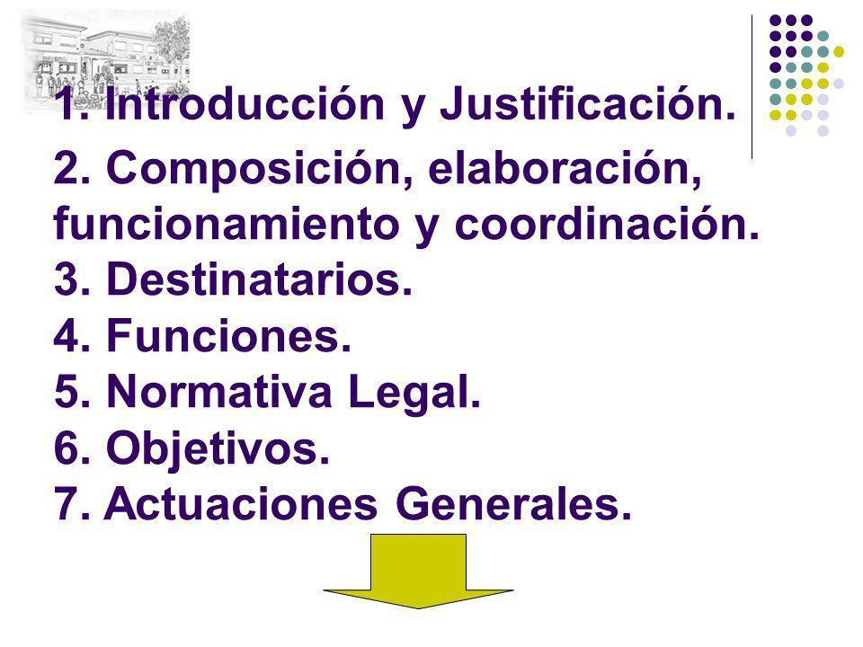 1. Introducción y Justificación. 2. Composición, elaboración, funcionamiento y coordinación. 3. Destinatarios. 4. Funciones. 5. Normativa Legal. 6. Ob
