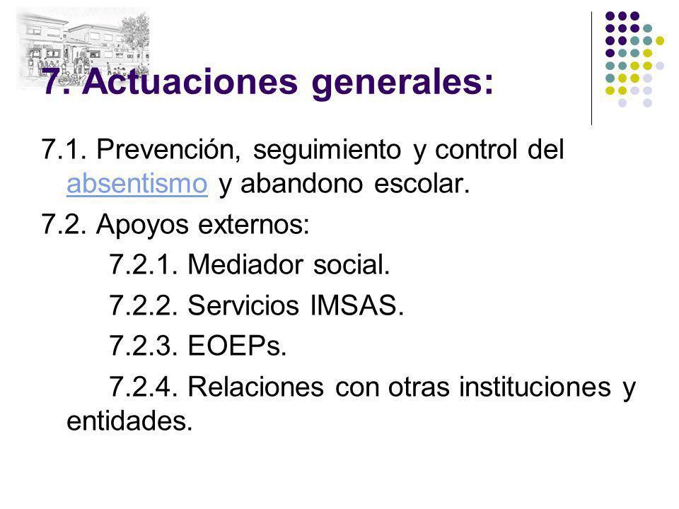 7. Actuaciones generales: 7.1. Prevención, seguimiento y control del absentismo y abandono escolar. absentismo 7.2. Apoyos externos: 7.2.1. Mediador s