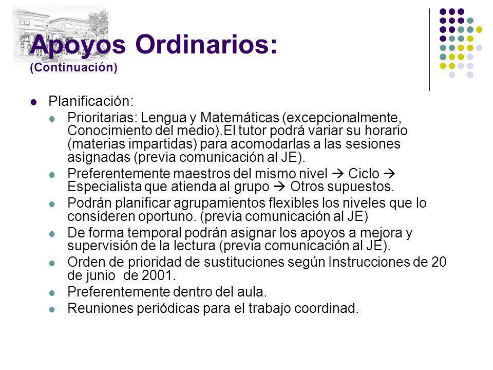 Apoyos Ordinarios: (Continuación) Planificación: Prioritarias: Lengua y Matemáticas (excepcionalmente, Conocimiento del medio).El tutor podrá variar s